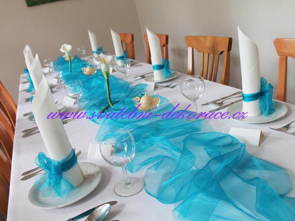 Svatebni Stul Azurove Modre Dekorace Tyrkysove